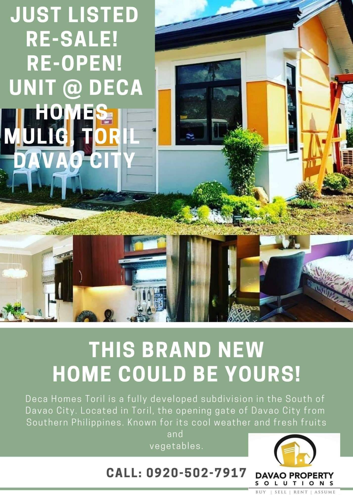 Just ListedRe-Sale, Re-Open, Assumption Promo for Deca Homes...